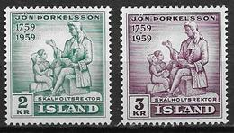 Islande 1959 N° 292/293  Neufs ** MNH.   Jon Thorkelsson - 1944-... Republique
