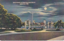 Florida Lakeland Civic Center On Lake Mirror At Night Curteich - United States