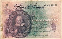 5 ESCUDOS DR.JOÃO DAS REGRAS - CHAPA 2 OURO - LISBOA 10 DE JULHO DE 1920-BANCO DE PORTUGAL. - Portugal