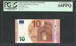 "Greece: 10 EURO  ""Y"" Draghi Signature! PCGS 64 PPQ (Perfect Paper Quality!) Printer Y003F1 VERY CHOICE UNC! - EURO"