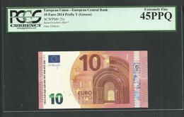 "Greece: 10 EURO  ""Y"" Draghi Signature! PCGS 64 PPQ (Perfect Paper Quality!) Printer Y008A4 Extr.rare Printer! XF! - EURO"