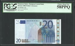"Greece  ""Y""  20 EURO PCGS 58 PPQ (Perfect Papere Quality) CHOICE AUNC! TRICHET Signature Printer N006F4!! - 20 Euro"