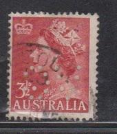 AUSTRALIA Scott # 258 Used - With Reversed VG Perfin - 1952-65 Elizabeth II : Pre-Decimals