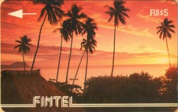 Fiji - FIJ-FI-1, GPT, Fintel, 1CWFA, Palms At Sunset, Beaches, Palm-trees, Sunsets, Sunrises, 5$, 5,000ex, 1993, Mint - Fiji