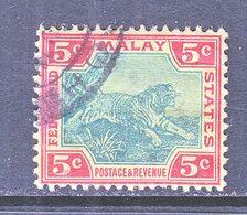 Malay 29  (o)  TIGER  Wmk 3 Multi CA   1904-10  Issue - Federated Malay States