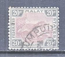 Malay 32  (o)  TIGER  Wmk 3 Multi CA   1904-10  Issue - Federated Malay States