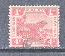 Malay 56  (o)  Wmk 4 Script CA  TIGER - Federated Malay States