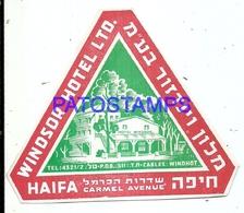 104444 ISRAEL HAIFA WINDSOR HOTEL LUGGAGE NO POSTAL POSTCARD - Hotel Labels