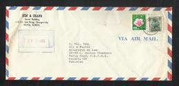 Korea 1985 Air Mail Postal Used Cover Korea To Pakistan Flower - Korea (...-1945)