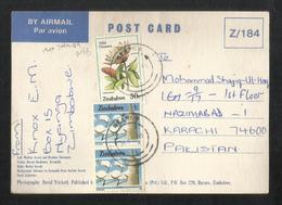 Zimbabwe Postal Used Picture Postcard With Stamps Wild Flower - Zimbabwe (1980-...)