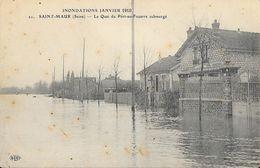 Inondations Janvier 1910 - Saint-Maur - Le Quai Du Port-au-Fouarre Submergé - Carte E.L.D. Non Circulée - Inondations