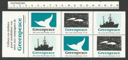 B53-36 CANADA Greenpeace Sheet 1B Montreal 1987 MNH Boat Dolphins Whale - Werbemarken (Vignetten)
