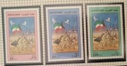 K30-  Kuwait 1991 Mi. 1233-1235 Complete Set 3v. MNH - Liberation, Flag - Kuwait