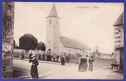 CAMPEAUX Animation Devant L Eglise 1908 (très Très Bon état) C 918 - Autres Communes