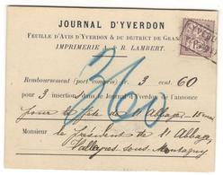 10636 - YVERDON - 1882-1906 Armarios, Helvetia De Pie & UPU