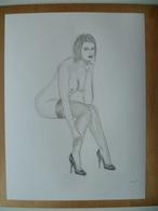 DESSIN ORIGINAL  24 X 32 Cm  NU FEMME SEXY  EROTIQUE   EROTIC   PIN UP - Drawings