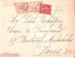 Yvert N°195 (1.05f. Semeuse Camée) Seul Sur Lettre Recommandée Oblitérée PARIS 53 - Postmark Collection (Covers)