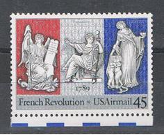 U.S.A.:  1989  ANNIVERSARIO  RIVOLUZIONE  FRANCESE  -  45 C. POLICROMO  N. -   YV/TELL. 114 A - Posta Aerea