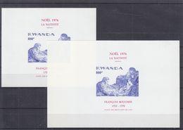 Noël 1976 - Rwanda - COB BF 69 ** - épreuve De Coleur + Bloc Normal - Peinture - F. Boucher - Taille Douce - Rwanda
