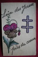 CARTE BRODÉE   -  Carte De Prisonniers, Loin Des Yeux;près Du Cœur. - Ricamate