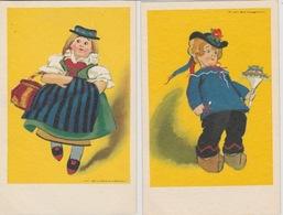 18/12/57   -  2  CPA PERSONNAGES   ( SIGNÉ  ILLISIBLE  ) - Otros Ilustradores