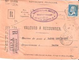 Bouches Du Rhone :- MARSEILLE NOUVELLES GALERIES Dateur Type E4 Sur Devant VALEURS A RECOUVRER - Postmark Collection (Covers)