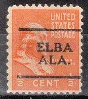 USA Precancel Vorausentwertung Preo, Locals Alabama, Elba 701 - Etats-Unis