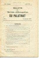 BULLETIN DE L'ARMEE D'OCCUPATION DU PALATINAT 1919 - Documents