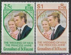 1973 SAINT VINCENT Grenadines 1-2** Mariage Princesse Anne - St.Vincent & Grenadines