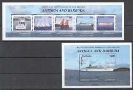 V381 ANTIGUA & BARBUDA SHIPS & BOATS SAILING IN AND AROUND 1BL+1KB MNH - Ships