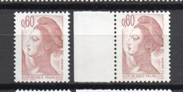 - FRANCE - Variété N° 2239 - 60 C. Brun-rose Type Liberté 1982 - TRAIT BLANC - - Variétés Et Curiosités