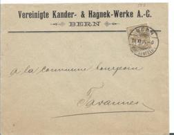 CH069, SCHWEIZ  /  Firmenbrief Aus Bern Per Drucksache Nach Tavannes 11905 - 1882-1906 Armarios, Helvetia De Pie & UPU