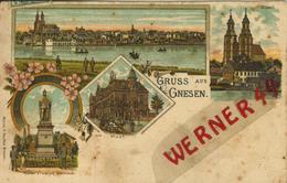 Gruss Aus Gnesen V.1906 Denkmal,Post,Stadtansicht,Dom (50633) - Schlesien