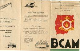 NÎMES (VERS 1950?) DEPLIANT DU BATAILLON COLONIAL AUTONÔME DU MATERIEL - Documents