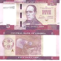 Liberia  P-31  5 Dollars  2016  UNC - Liberia