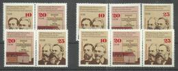 """DDR 2050/2051/2052 Zd """"100 Jahre Gothaer Kongreß, 2-er U.3-er Zusammendruck U. 1 Satz"""" Postfrisch Mi.-Preis 3,80 - Zusammendrucke"""