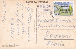 Tarjeta Postal Lima Perú Pérou Genova Italia Aéreo Reforma Agraria Palacio De Justicia - Pérou