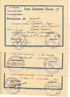 ST HILAIRE DE VILLEFRANCHE 17. TRAIN SANITAIRE OUEST. 18è SECTION INFIRMIERS MILITAIRES. LOT DE 3 PERMISSIONS 1939 - Documents