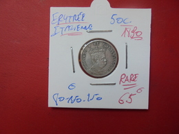 ERYTHREE ITALIENNE 50 Cent 1890 ARGENT. ASSEZ RARE ! - Colonies