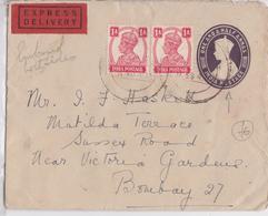 British India Raj George V Express Delivery Label Postal Stationery Cover Bombay - Lettre Entier Postal Exprès Inde - Inde (...-1947)