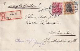 ALLEMAGNE 1916 LETTRE RECOMMANDEE DE BERLIN AVEC CACHET ARRIVEE MUNICH - Germania