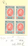 132 ** Variété Torsade V3 Et Q Dans Un Bloc De 4   Cote 222,-€ - 1914-1915 Red Cross
