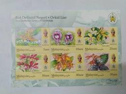 MALAYSIA 2018 WILD ORCHIDS Definitive State Series MS Stamps Perf Terengganu Trengganu Sultan Mizan Mnh - Malaysia (1964-...)