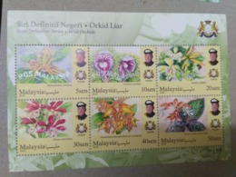 MALAYSIA 2018 MNH WILD ORCHIDS Definitive State Series MS Stamps Perf Johore Johor King Sultan Ibrahim - Malaysia (1964-...)