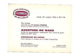 68 MULHOUSE AVENTURE DE WASA FILM SUEDOIS I?VITATION DE Melle  SYLWAN Barbro - Publicité Cinématographique