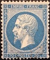 FRANCE Y&T N°22 Napoléon 20c Bleu. Oblitéré. - 1862 Napoléon III.