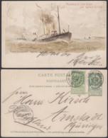 Belgique 1910- EP 5C Vert + 5 C Fines Barbes - Carte Paquebot Voyagée : Rapide  (6G23184) DC0922 - Postwaardestukken