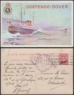 Belgique 1910- EP 10C Sur 30C Rouge - Carte Paquebot Voyagée Oostende-Douvres  (6G23184) DC0925 - Liner Cards