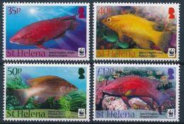 WWF -  ST. HELENA  - FISHES - 2011  - 4  V. - MNH  - MARINE LIFE - - W.W.F.