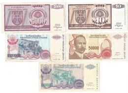 X1- Lot 5 Psc.Banknote Republic Of Srpska Krajina,Knin,Banja Luka 1992/93/94. - Croatia